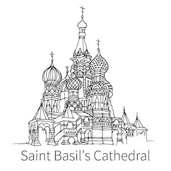 모스크바에서 유명한 성 바실리 대성당 드로잉 스케치 그림입니다. 정교회. 벡터 일러스트 레이 션