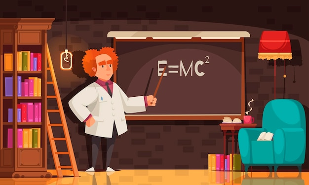 Famous scientist composition with view of man in vintage room with bookcase chair and blackboard