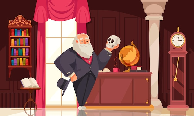 Famous scientist darwin composition with vintage room interior scenery and doodle character looking at human skull