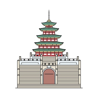 Знаменитая южнокорейская икона здания пагоды в стиле эскиза, векторные иллюстрации шаржа, изолированные на белом фоне. достопримечательности и достопримечательности мира.