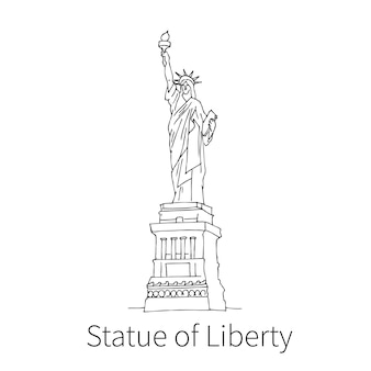 Famous statue of liberty drawing sketch illustration in united states of america. vector illustration