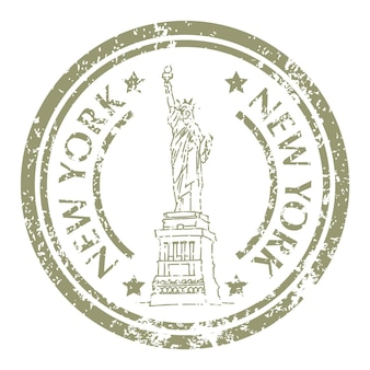 Famous statue of liberty in new york on grunge postal stamp. vector illustration