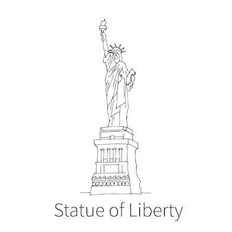 미국에서 유명한 자유의 여신상 드로잉 스케치 그림. 벡터 일러스트 레이 션