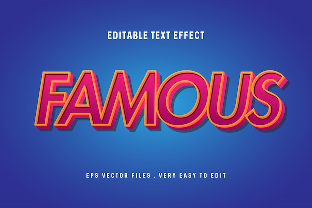 Famous - текстовый эффект премиум, редактируемый текст