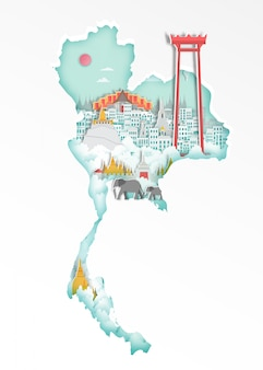 Famous thailand landmark on map for travel poster, paper art style.