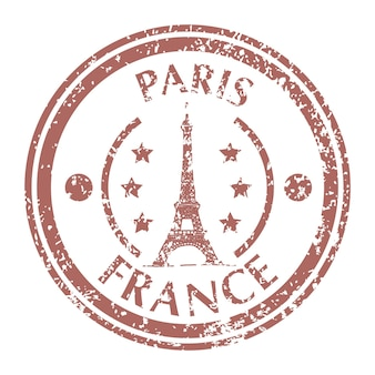 Знаменитая эйфелева башня в париже на почтовой марке гранж. векторная иллюстрация