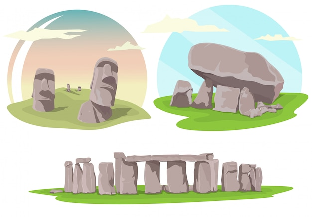 Famous travel locations, stonehenge, easter island and brownshill dolmen