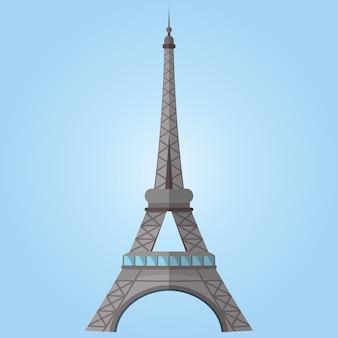 Известная мировая достопримечательность. изображение эйфелевой башни в париже. векторная иллюстрация
