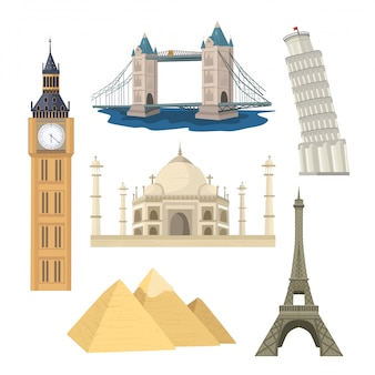 Famous world monuments illustration