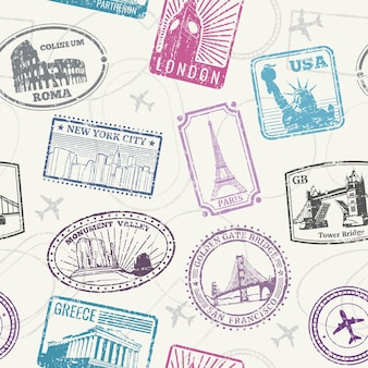 Famous world monuments seamless pattern