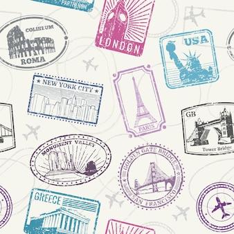 유명한 세계 기념물 원활한 패턴