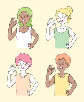 Fan heat wave summer weather cute people illustration