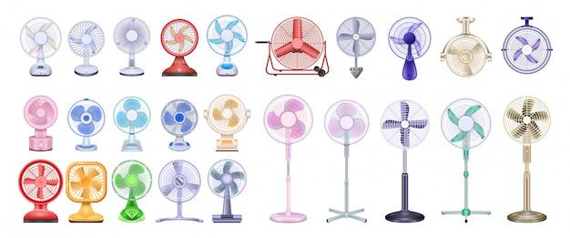 Вентилятор реалистичный набор иконок. вентилятор иллюстрации на белом фоне. реалистичный набор значок вентилятора.