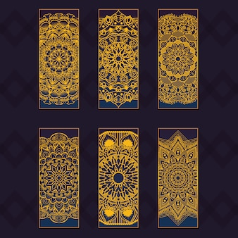 Fancy bookmarks with golden mandala