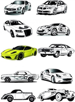 Fancy cars sketches vector set