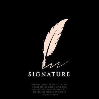 멋진 깃털 실루엣 잉크 로고 디자인 영감