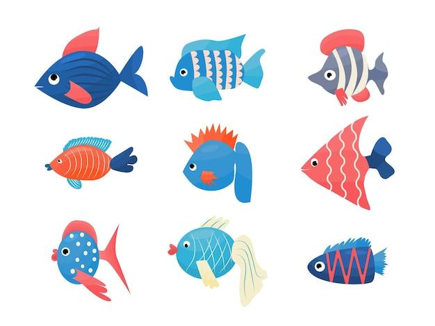 멋진 물고기는 아이 장식을 위한 벡터 만화 그림을 설정합니다.