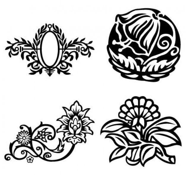 空想の花、花のオーバルフレームベクトル