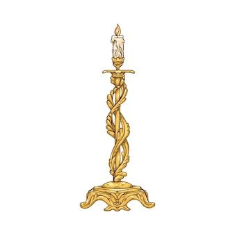 燃えるろうそくの漫画のアイコン、白い表面で隔離の手描きの彫刻ベクトルイラストとファンシーゴールドヴィンテージ燭台
