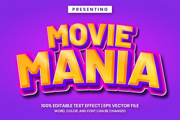 Fancy gradient 3d text effect for game logo titile or cartoon movie