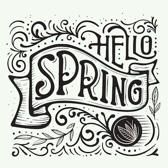 Fancy lines and dots for hello spring lettering