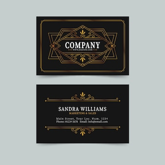 Fancy lines elegant visiting card template