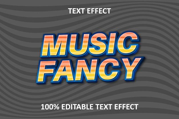 Эффект редактируемого текста fancy music оранжевый синий серебристый