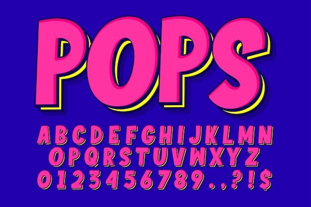 派手なポップアートのアルファベットデザイン