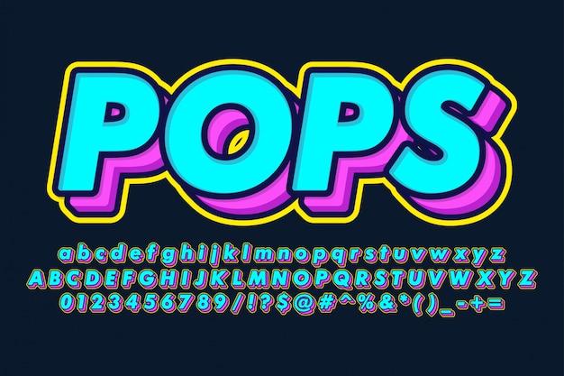 Fancy pop art alphabet Premium Vector