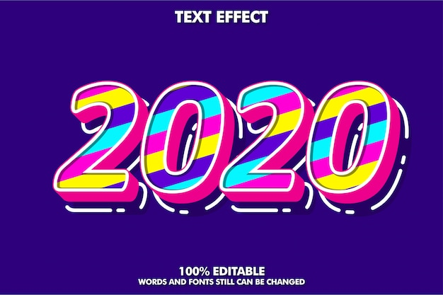Fancy pop art text effect, new year 2020 banner