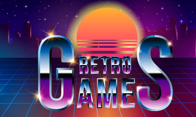 Fancy retrofuturistic neon lettering. retro games. synthwave vaporwave style.