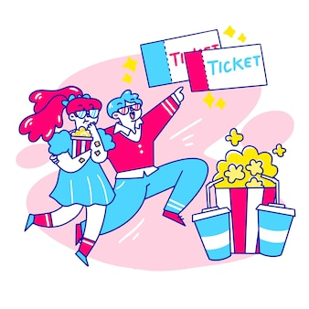 Fancy young couple goes to cinema doodle illustration