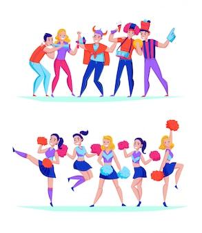 ファンを応援するチーム2吹く角のサポーターとうれしそうなジャンプの女の子イラストの平らな水平構成