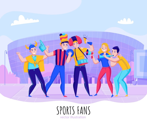 Fans cheering team composition with group of people pose on stadium background  illustration