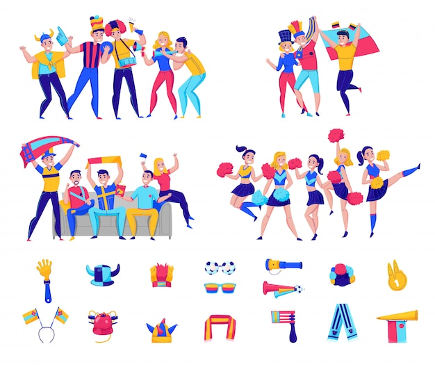 Fans cheering team icon set with groups of people and football attributes cheering for the team  illustration