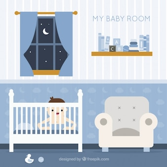 Fantastic baby room with smiling baby