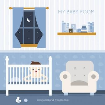 Фантастическая комната ребенка с ребенком улыбается