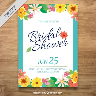 Fantastic bachelorette invitation with colored flowers