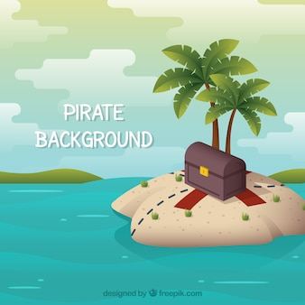 Fantastic background of island with treasure