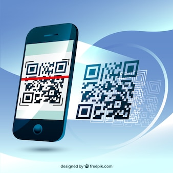 Fantastic background of mobile phone scanning a qr code