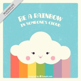 Фантастический фон из облаков с радугой