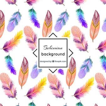 Фантастический фон из цветных перьев окрашены с акварелью