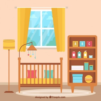 Fantastic background of flat baby room