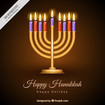 Fantastic background of golden candelabra with burning candles for hanukkah