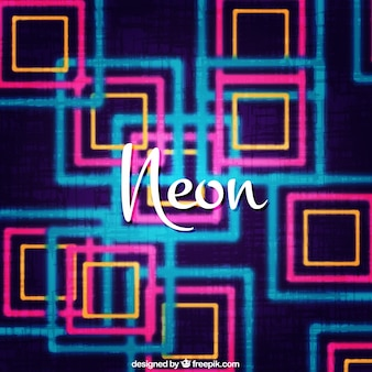 Fantastic background of neon lights with square-shapes