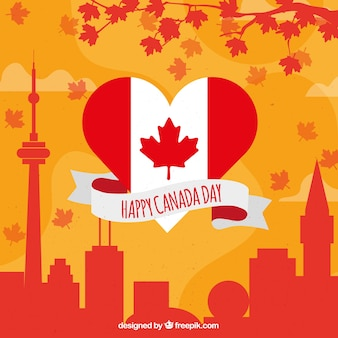 Fantastic background with building silhouettes for canada day