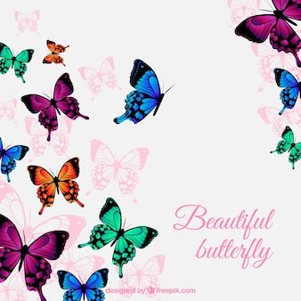 Fantastic background with colored butterflies flying
