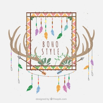 Fantastic background with ethnic decoration and antlers