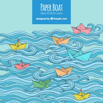Fantastic background with waves and colored paper boats