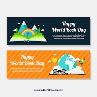 世界帳の日のためのオープンブックとファンタスティックバナー
